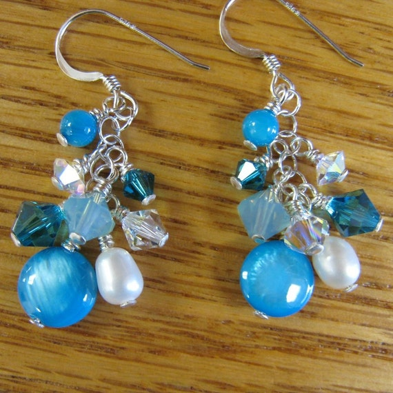 MJ Caribbean Collection Dangle with Blue Pearl Swarovski Crystals Silver Earrings