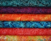 Quilt Fabrics, Tonga Batiks, Stash, Quilters Package, 6 Half Metre Bundle, Sewing Textiles, Canadian Cuts, Stamped Batik Fabrics, Mixed,