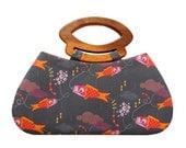 Japanese koi fish kites handbag with handmade wooden handles
