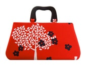Handbag with sweet trees on red