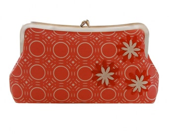 Mod red clutch purse with flower applique