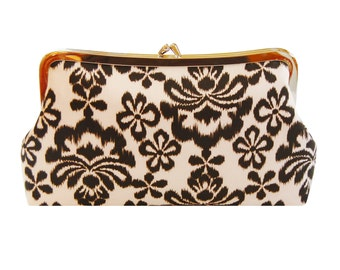 Clutch purse with ikat damask in chocolate brown