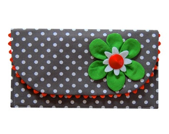 The Ric Rac Clutch Purse with green flower on gray polka dots