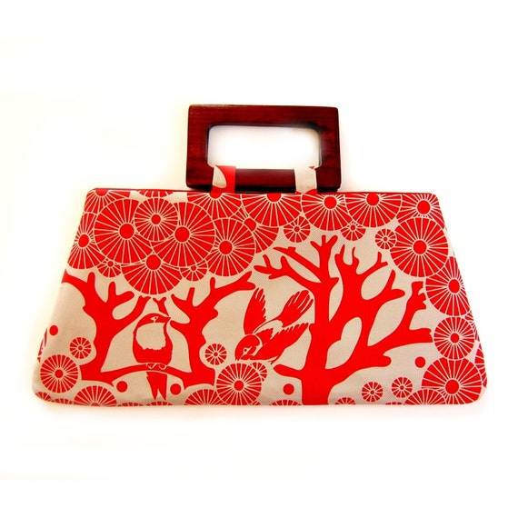 Birds in the red forest handbag
