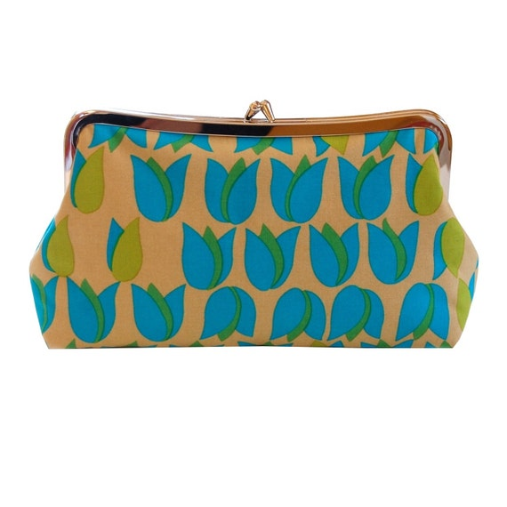 Clutch purse with Aqua tulips
