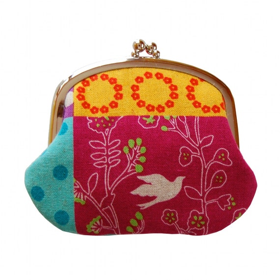 Coin purse in bright patchwork