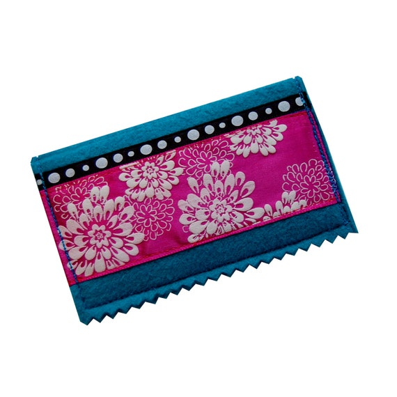 Business card case with flower blossoms on aqua