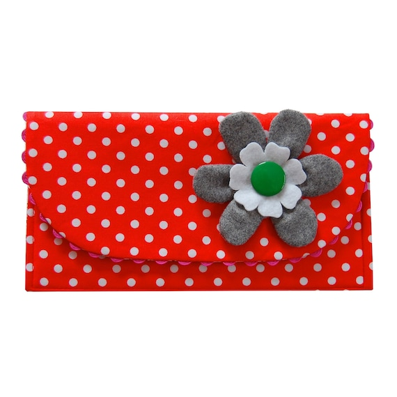 The Ric Rac Clutch Purse with gray flower on orange polka dots