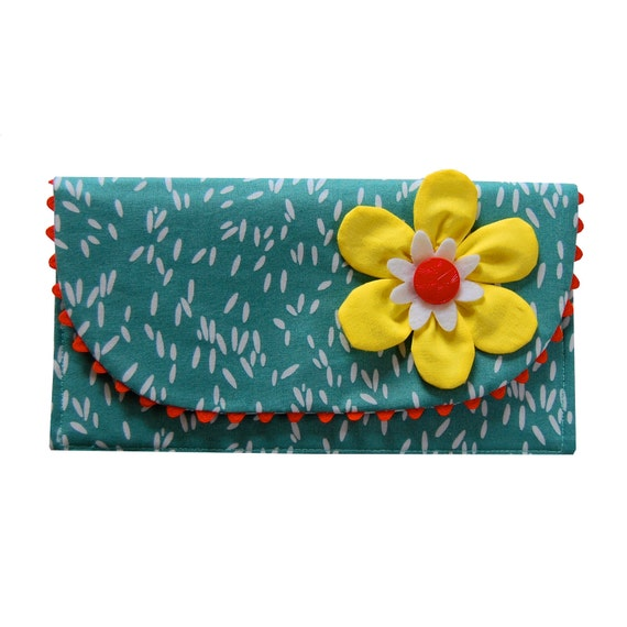 The Ric Rac Clutch Purse with yellow flower on teal