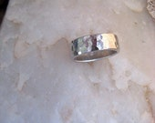 Mens ring simple silver casual textured Shiny Happy Band