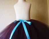 Toddler through Teen Girls Brown Tutu skirt. with Aqua Satin Ribbon Bow...