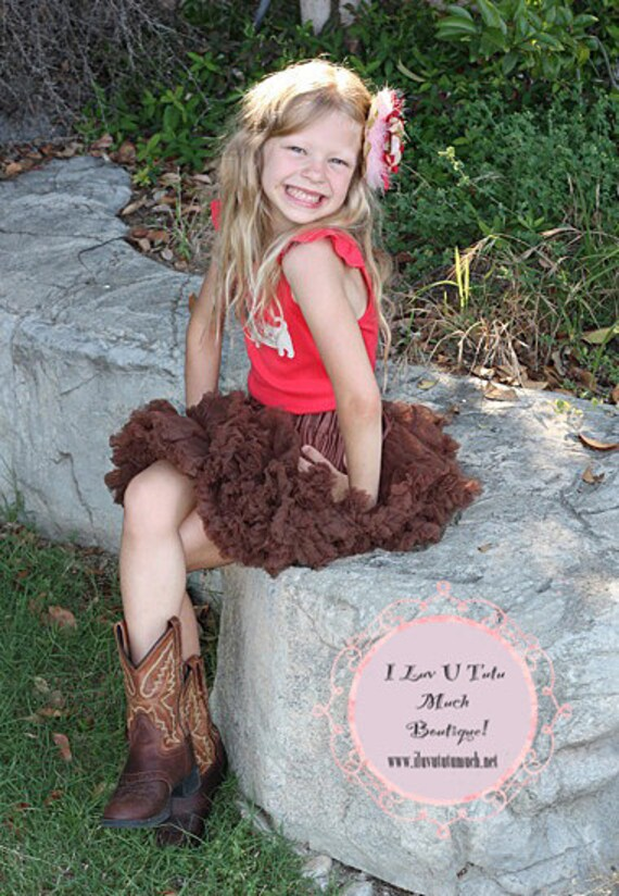 Ready to ship ..Fluffy Brown  Petti Skirt for your  5  to  7year old child