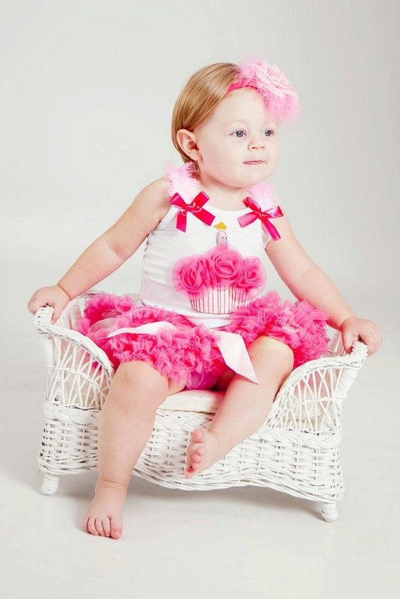 Happy 1st Birthday a beautiful light pink and hot pink 4 pc combo 12 mon. only