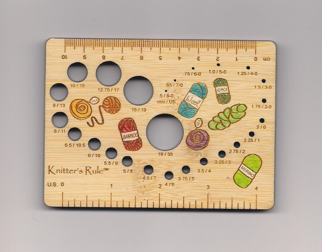 Knitting Needle Stitch Gauge : Yarn Stash Knitters Rule Needle Gauge