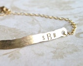 Custom Simple Monogram Bracelet, Gold Filled