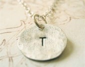 Hammered Sterling Silver Initial Personalized Necklace