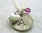 Birthstone Initial Heart Sterling Hand Stamped Necklace