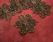 12pc antique bronze filigree flower connector-303