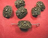8pc antique bronze metal fancy beads-4985