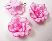 4pc Handmade Polymer Clay Flower Beads-961