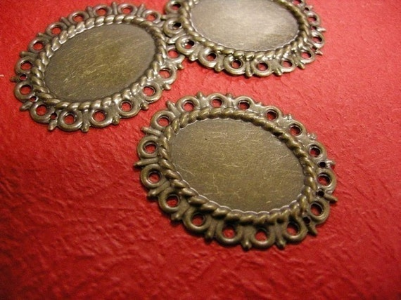 15pc antique bronze filigree base setting-460A
