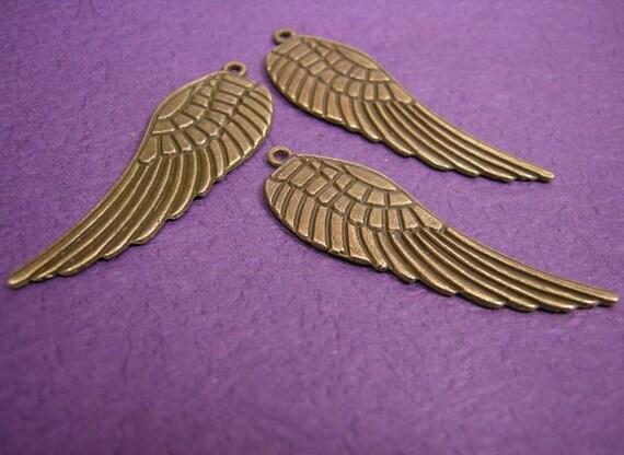 6pcs antique bronze large angel wing charm-501