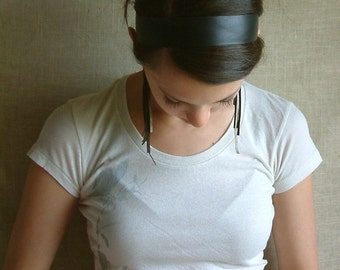 Navy Leather 'Audrey Hepburn' Headband by Hende