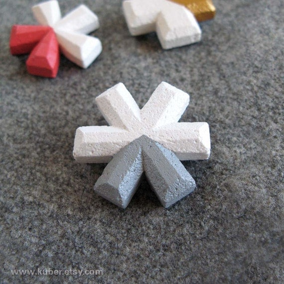 Asterisk typography brooch, grey and white cast plaster pin, handmade in Australia by kuber