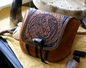 Leather Belt Bag Dragon-Celtic Knot Work Leather Belt Bags-Tooled Leather Belt Bag-Leather Belt Bag-Shamanic Pagan Belt Bag -Leather belt ba