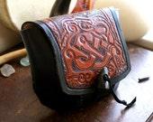 Leather Belt Bag Dragon-Celtic Leather Belt Bag-Tooled Leather Belt Bags-Leather Belt Bag--Belt Bag-Shamanic Bag-Tooled Leather Belt Bag