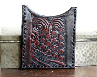 Leather Card Case-Leather Business Card Case-Leather Card Cases-Deco Tooled-Leather Credit Card Case-Leather Card Case Sleeve-Business Cards