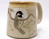 Black Capped Chickadee and Maple Leaf Coffee Mug Limited Series 66