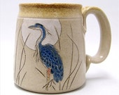 Great Blue Heron Pottery Coffee Mug Limited Series 140 (microwave safe)