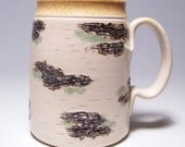 Birch Pottery Coffee Mug large Mega Limited Series 165 on white stoneware (microwave safe)