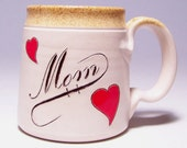 Mom Pottery Coffee Mug  with Red Hearts (microwave safe) 12 oz M1