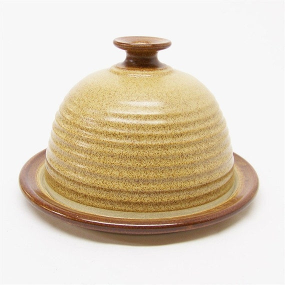 Pottery Butter and Cheese Ball Covered Dish in Warm Brown with a Brown Stripe