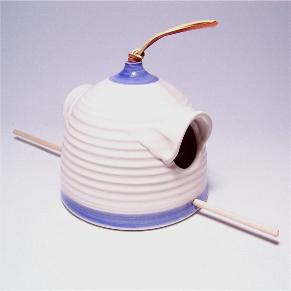 Pottery Bird Feeder in Blue Skies and Cream  for sunflower seed loving birds