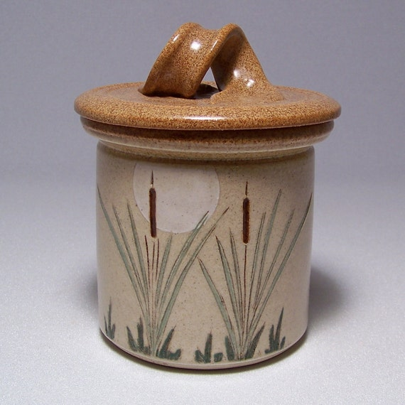 Cattails and Moon Lidded Jar Ltd Series 10 crock style (salsa relish candy)
