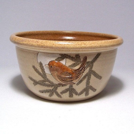 Wren and Pine Bough Stoneware Serving Bowl 2quart Limited Series 175