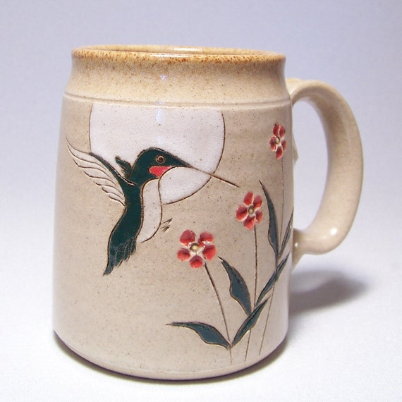 Ruby Throated Hummingbird and Flowers  Large 16 ounce Pottery Coffee  Mugs Limited Series 115