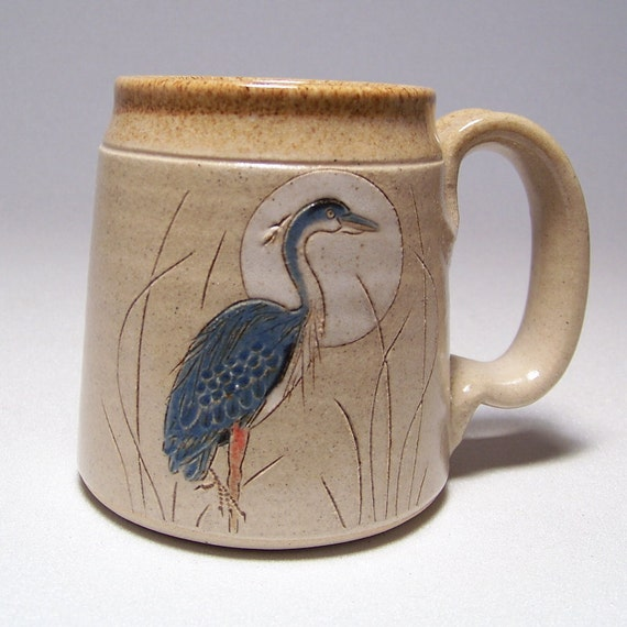 Great Blue Heron Pottery Coffee Mug Limited Series 176 (microwave safe) 12oz