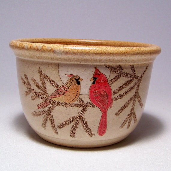 Cardinal Couple and Pine Bough 1 quart Pottery Serving Bowl Limited Series 20