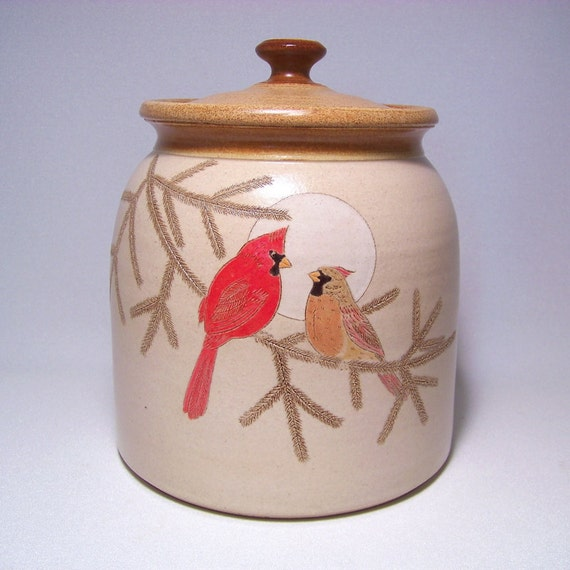 Cardinal Couple and Pine Bough Pottery Cookie Jar Limited Series 50