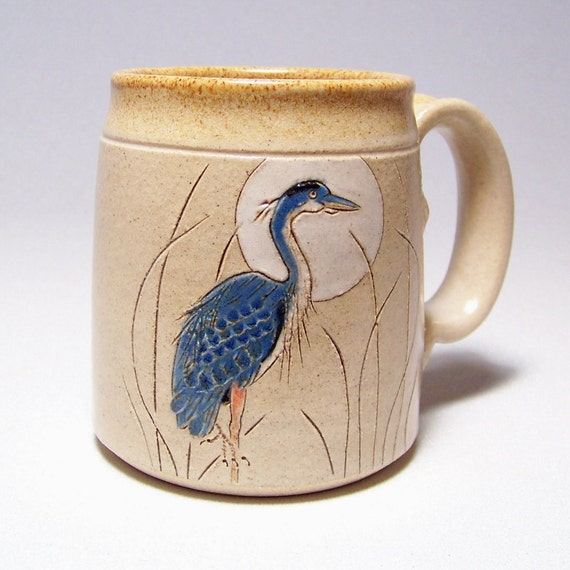 Great Blue Heron Pottery Coffee Mug Limited Series 178 (microwave safe) 12oz