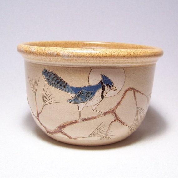Blue Jay design 1 quart Pottery Serving Bowl Limited Series 17