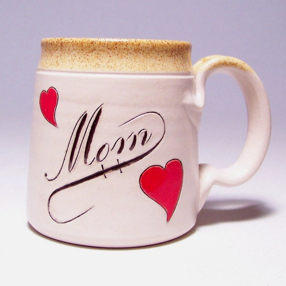 Mom Pottery Coffee Mug  with Red Hearts (microwave safe) 12 oz M1