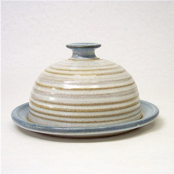 Pottery Butter Dish in Soft white and Blue
