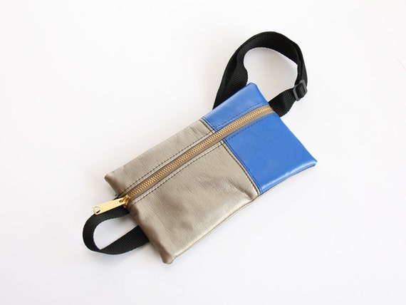 Hip Bag - Faux Leather in Cobalt and Silver