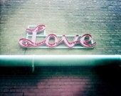 Love Art Print Modern Home Decor Romantic Wall Art Love Photography Mint Green Pink Color Photograph 5x5 Love Sign Photo Home Decor Picture