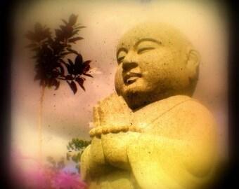 Buddha Art Photo 5x5 TTV Buddha Photography Golden Tranquility Buddhist Art Praying Dharma, Tolerance, Loving Kindness Buddha Photograph